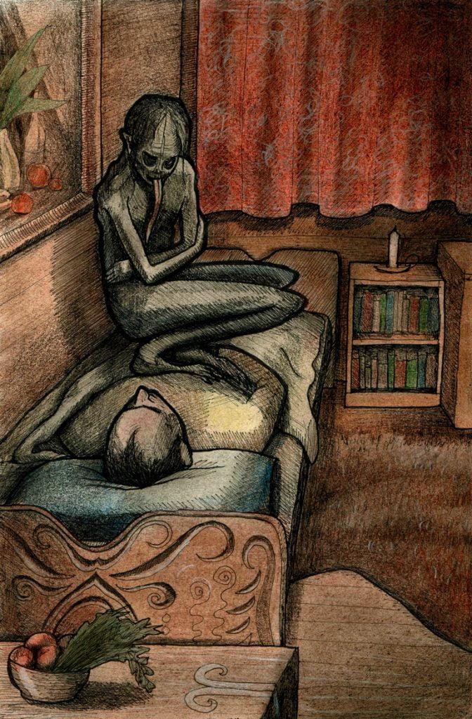 Mara / Strzyga slavic monster painting - The End of The Sun